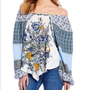 Free People Positano Printed Peasant Sleeve Blouse